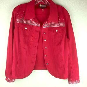 Christine Alexander Red Rhinestone Studded Jacket